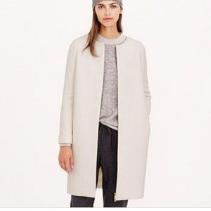 J crew Collarless 2ply wool cloth Off white coat